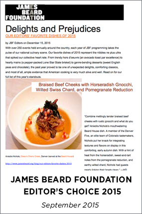 JAMES BEARD FOUNDATION - EDITOR'S CHOICE 2015